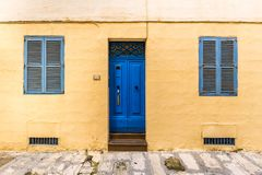 Senglea, Malta - Traditional maltese blue door and windows on the streets of Senglea. On a bright day Stock Photos