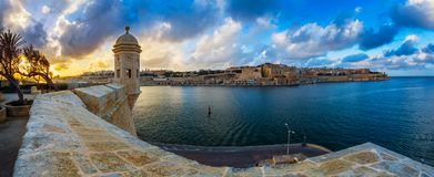 Senglea, Malta - Watch tower at Fort Saint Michael, Gardjola Gardens at sunset Royalty Free Stock Photo