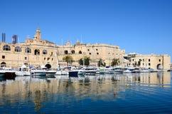 Senglea strandbyggnader, Malta Arkivbild