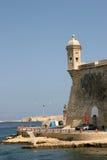 Senglea Vedette, port grand, Malte photo stock