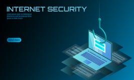 Senha isométrica do início de uma sessão do portátil 3D que phishing Hacker do email da conta das informações pessoais Segurança  ilustração do vetor