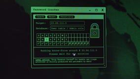 A senha rachou-se, hacker de computador irreconhecível que rouba dados pessoais, conceito do crime do cyber do Internet filme