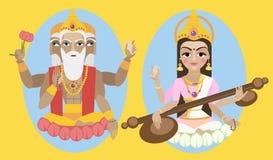 Senhor Brahma do vetor e devi de Sarasvati Imagens de Stock Royalty Free