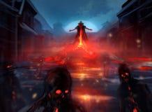 Senhor do demônio com zombis ilustração royalty free