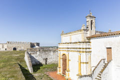 Senhor dos Aflitos church and the Castle inside the Medieval wall in Campo Maior city, Portalegre district, Portugal Stock Photography