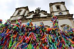 Senhor hace la iglesia de Bonfim en Salvador, Bahía en el Brasil Imagen de archivo