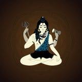 Senhor Shiva Ilustração hindu dos deuses Deus supremo indiano Shiva que senta-se na meditação Fotos de Stock Royalty Free
