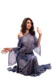 Senhora étnica no vestido retro isolado no branco Fotografia de Stock Royalty Free