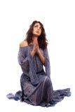 Senhora étnica no vestido retro isolado no branco Imagens de Stock Royalty Free