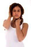 Senhora africana em uma camisa branca Foto de Stock