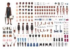 Senhora afro-americano nova à moda DIY ou jogo da animação Pacote de detalhes do corpo do caráter fêmea, poses, gestos ilustração royalty free