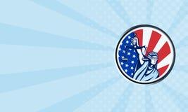 Senhora americana Terra arrendada Escamação da bandeira de justiça retro Fotografia de Stock Royalty Free