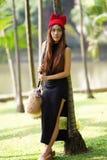 Senhora asiática bonita no vestido preto Foto de Stock Royalty Free