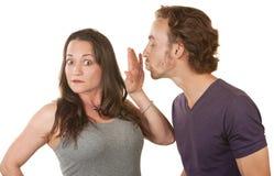 Senhora Blocking beijo de um homem Fotos de Stock Royalty Free