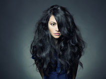 Senhora bonita com cabelo escuro magnífico Fotografia de Stock Royalty Free