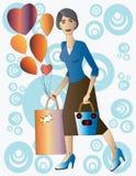 Senhora bonita com presente e balões. Foto de Stock