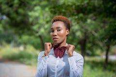 Senhora bonita de África em um laço Foto de Stock Royalty Free