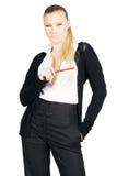 Senhora bonita do negócio com lápis Fotografia de Stock Royalty Free