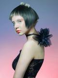 Senhora bonita no vestido preto Imagem de Stock Royalty Free