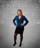Senhora bonita nova com cálculos e ícones tirados mão Imagens de Stock
