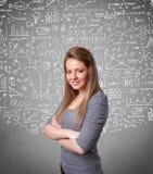 Senhora bonita nova com cálculos e ícones tirados mão Imagem de Stock