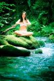 Senhora bonita By The River fotos de stock