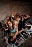 Senhora bonito DJ Fotografia de Stock