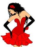 Senhora Charming em um vestido vermelho ilustração royalty free