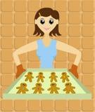 Senhora com a bandeja de homens de pão-de-espécie Fotos de Stock