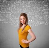 Senhora com cálculos e ícones tirados mão Foto de Stock Royalty Free