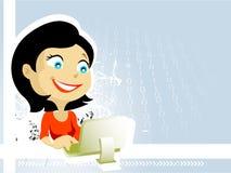 Senhora com computador Fotos de Stock Royalty Free