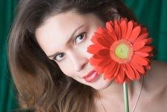 Senhora com gerber vermelho Fotografia de Stock Royalty Free