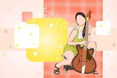 Senhora com guitarra Imagens de Stock