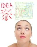 Senhora com lâmpada, conceito da ideia Imagem de Stock Royalty Free
