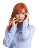 Senhora Com Longo Vermelho Cabelo Imagem de Stock Royalty Free