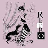 A senhora com o galgo Retro-estilo gráficos monocromático Vetor ilustração do vetor