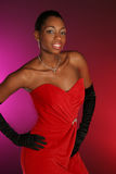 Senhora com o vestido vermelho sobre fotos de stock royalty free