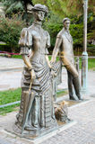 Senhora com um cão Monumento a Anton Chekhov em Yalta foto de stock