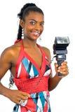 Senhora com um flash preto Fotografia de Stock