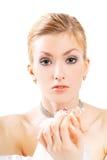 Senhora com uma flor Imagem de Stock