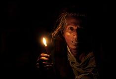 Senhora com uma vela Foto de Stock Royalty Free