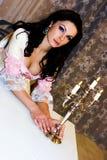 Senhora com velas Imagem de Stock Royalty Free