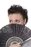 Senhora com ventilador Imagens de Stock Royalty Free