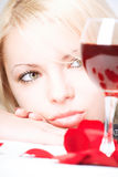 Senhora com vinho Imagens de Stock Royalty Free