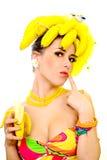 Senhora da banana Fotos de Stock Royalty Free