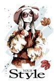 Senhora da forma no chapéu Retrato bonito da mulher nova Mulher à moda nos óculos de sol ilustração do vetor