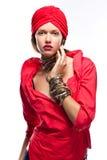 Senhora da forma no vermelho Fotos de Stock Royalty Free