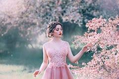 A senhora de encantamento no jardim de floresc?ncia, menina com cabelo recolhido afaga delicadamente ramos das ?rvores com flores fotos de stock