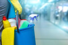 Senhora de limpeza com os produtos de uma cubeta e de limpeza foto de stock