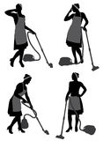 Senhora de limpeza With Vacuum Cleaner ilustração stock